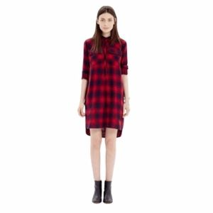 J crew red and navy blue flannel dress